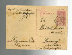 1944 nagysurany Ghetto Hungary  censored Postcard Cover to Garany Judaica
