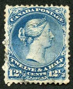 Canada SG60b 12.5c bright blue wmk THA Fine Used (tiny thin) cat 300