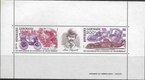 GABON  393  MNH   AUTOMOBILES SOUVENIR SHEET 1977