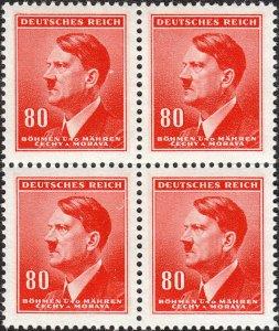 Stamp Germany Bohemia B&M Mi 094 Sc 67 Block 1942 WW2 Fascism Hitler MNH