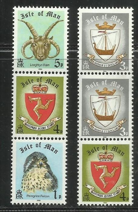 ISLE OF MAN - ISOLA 1980 BOOKLET STAMPS Peregrine Falcon Loaghtyn ram Viking ...