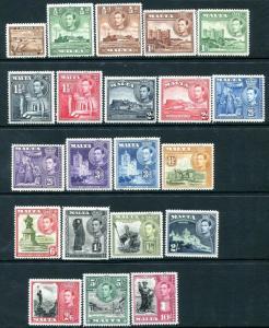 MALTA-1938-43 Set to 10/- Sg 217-231  LIGHTLY MOUNTED MINT V28788