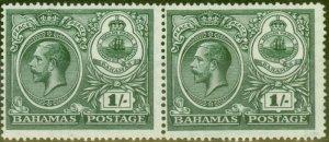 Bahamas 1920 1s Dp Myrtle-Green Fine Lightly Mtd Mint Pair