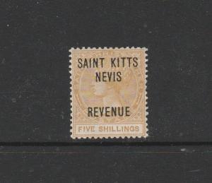 Saint Kitts Nevis QV Optd Revenue 5/- Fresh MM