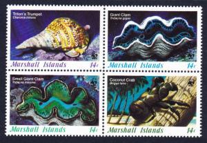 Marshall Is. WWF Coral Life Block of 4 SG#71-74 MI#73-76 SC#110-113 CV£7.6