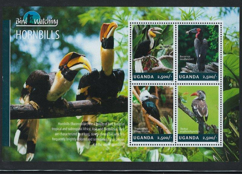 Uganda Scott 2117 MNH! Hornbills! Sheet of 4!