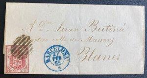 1855 Barcelona Spain Letter Sheet cover To Blanes