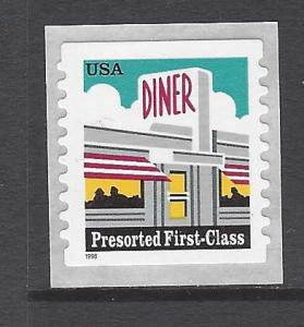 3208a Catalog # Pre-sorted First Class Coil Diner  25 Cent Single Stamp