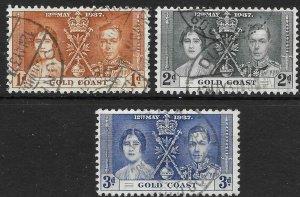 GOLD COAST SG117/9 1937 CORONATION SET USED