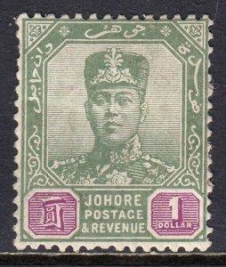 MALAYA (JOHORE) — SCOTT 95 (SG 97) — 1918 $1 SULTAN IBRAHIM — MH — SCV $14