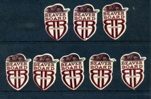 8 VINTAGE BEAVER BOARD 'PURE WOOD FIBRE' POSTER STAMPS (L911) LUMBER