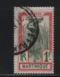 Martinique 95 U 1908-30 women bearing Pineapple in Cane Field