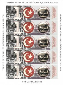 TURKEY/2020 - (Kleinbogen Sheet) 100th Year of the TBMM (Augmented Reality), MNH