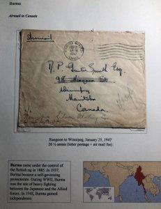 1947 Rangoon Burma Airmail Cover To Winnipeg Canada