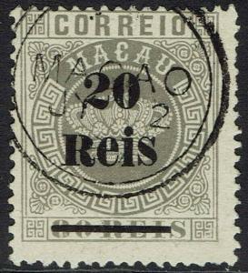 MACAU 1887 CROWN 20R ON 80R USED
