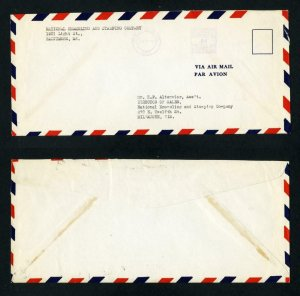 Airmail Cover National Enameling, Baltimore, MD to Milwaukee, WI dated 1-24-38