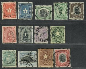 $Liberia Sc#33//49 used, partial set, Cv. $36.80 cto