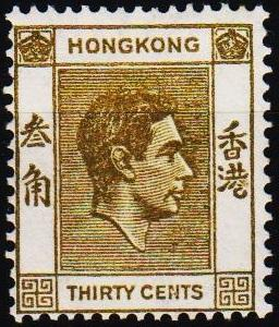 Hong Kong. 1938 30c S.G.151a Mounted Mint