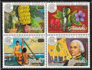 Aitutaki #O32A Commonwealth Day Block of 4 (MNH) CV $11.00