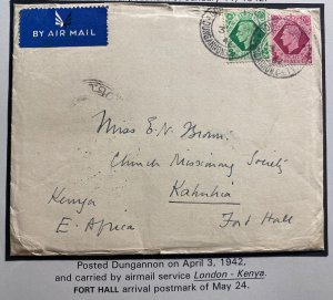 1942 Dungannon England Wartime Airmail Cover to Fort Hall Kenya With Letter