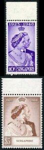 SINGAPORE SG31/2 1948 RSW 10c and 5 dollar upper marginal U/M