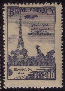 BRAZIL SC 714 MNH GRAF ZEPPELIN AIRSHIP-DIRIGIBLE & EIFEL TOWER 1951