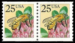 PCBstamps     US #2281f Coil Pair 50c(2x25c)Honeybee, large block tag, MNH, (4)