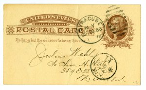 US - OFFICIAL POST CARD, year 1886