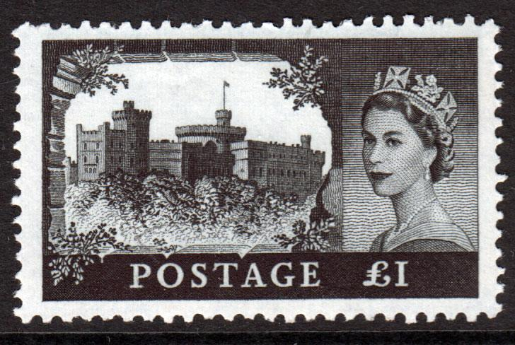 GB QEII 1959 Castles £1 Black SG598a Mint Never Hinged MNH UMM