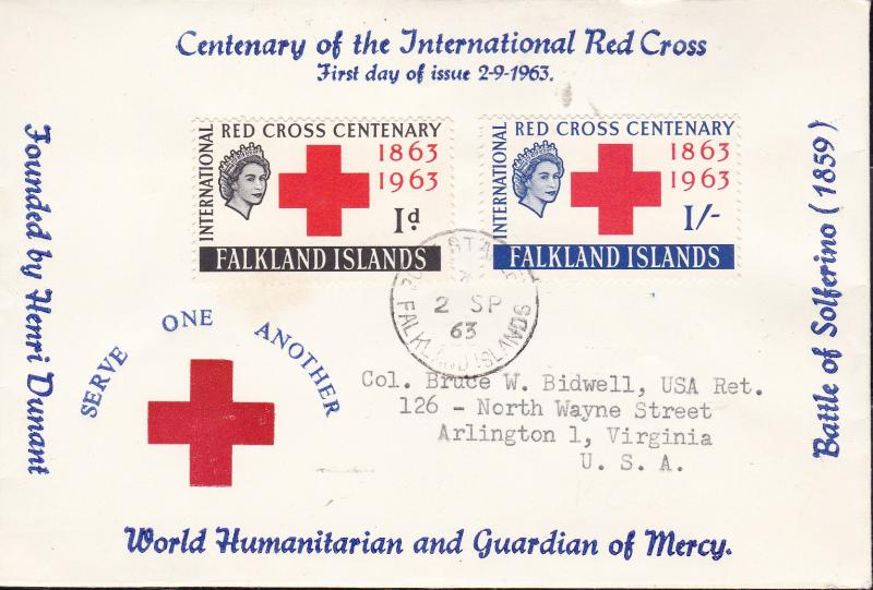 Falkland Islands 1963 Red Cross Centenary First Day Cover Typed Address Cachet