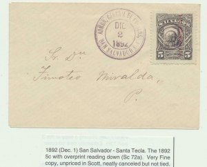 EL SALVADOR 1892, 5c OVERPRINT READING DOWN ON COVER, SAN SALVADOR-SANTA TECLA