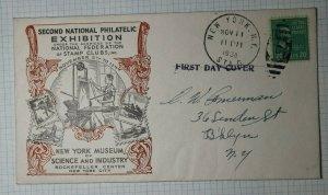 Natl Exhibition Museum Science NY Philatelic Expo Cachet 1938 FDC 2nd day 825