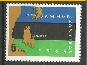 ZANZIBAR, 1964, MVLH 5sh, Map of Zanzibar and Pemba, flag Scott 316