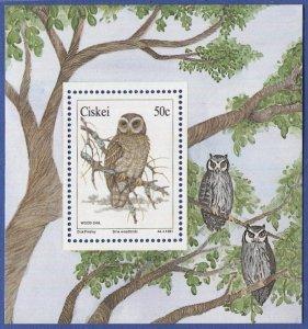 SOUTH AFRICA  Ciskei 1991, Sc 166a  VF MNH souvenir sheet, Owl