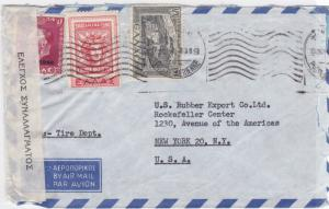 Greece 1946 exaimined censor to new york  air mail stamps cover r19721