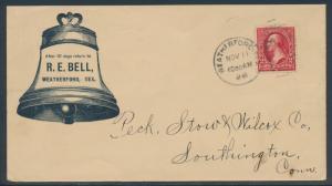 VF ADVERTISING R.E. BELL 898 W/ 2¢ BUREAU COVER WEATHERFORD, TX CDS BR4017 HSAM