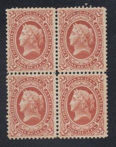 Guatemala 1875 Liberty Head 2r Dull Red Block x 4 MNG. Scott 10