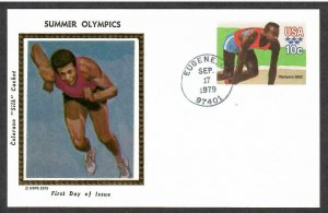 US # UX80 Olympic Games Colorano Silk First Day Postal Card - I Combine S/H