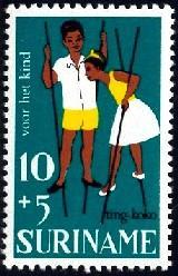 Children's Game, Children Stilt-Walking, Surinam SC#B137 MNH