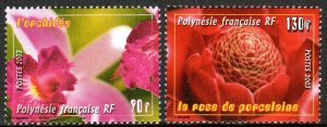 French Polynesia 859-860, MNH. Flowers. Orchid, Rose de porcelain, 2003