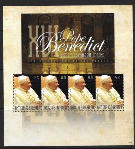ANTIGUA SGMS4318 2010 POPE BENEDICT XVI    MNH
