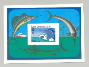 Turks & Caicos #756 Fish 1v S/S Imperf Proof Mounted on Card