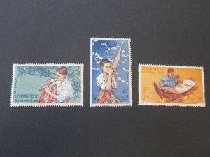 Laos 1957 Sc 34-6 UN set MNH