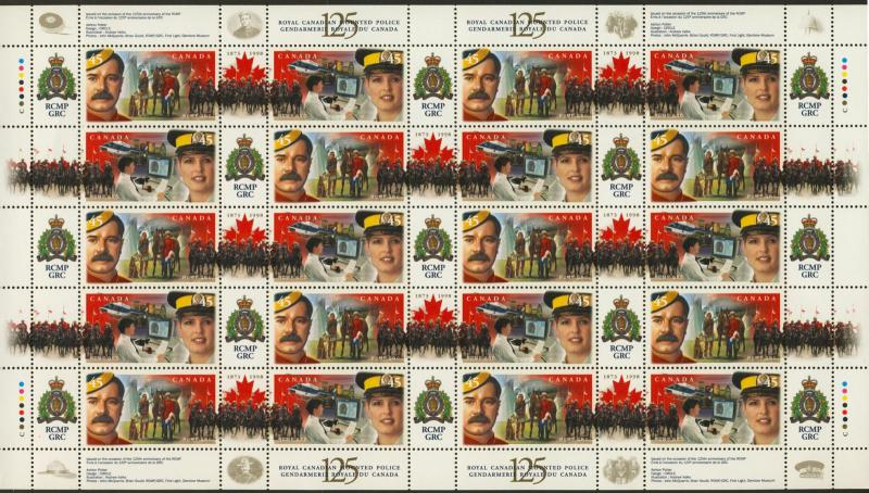 Canada 1737a Sheet MNH RCMP 125th Helicopter, Horse, RCMP Ride