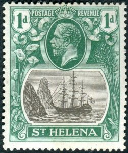 ST HELENA-1922-37 1d Grey & Green CLEFT ROCK.  A mounted mint example Sg 98c