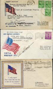 (3) DIFFERENT FLAG WWII PATRIOTIC COVERS BM7574