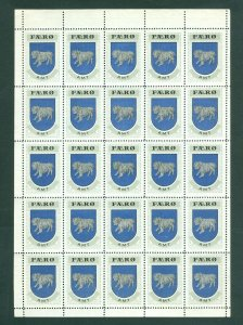 Faro Islands. Poster Stamp 1940/42. Full Sheet Mnh,Folded. Coats Of Arms Ram