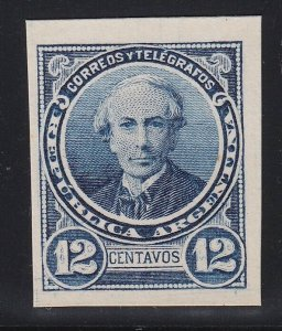 Argentina 1888-89 12c Blue Plate Proof on Card. MNH. Scott 73