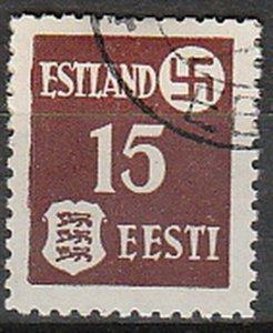 Stamp Germany Estland Mi 01 WWII 1941 War Occupation Emblem Estonia Used