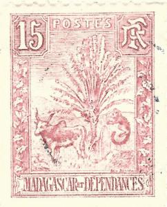 French Madagascar (Scott #68) Used Fine hr sh perf..French Colonies are hot!